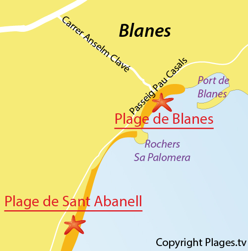 Carte de la plage de Blanes en Espagne