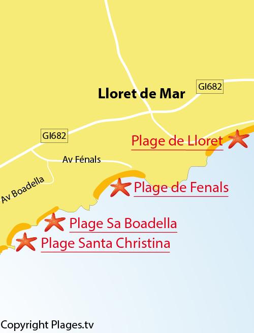 Carte de la plage de Boadella à Lloret de Mar en Espagne