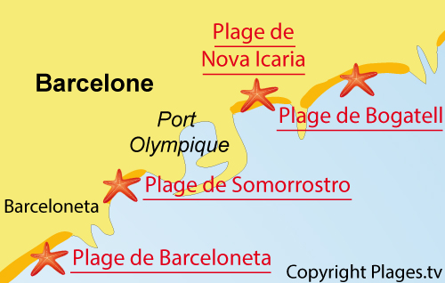 Carte de la plage de Bogatell à Barcelone