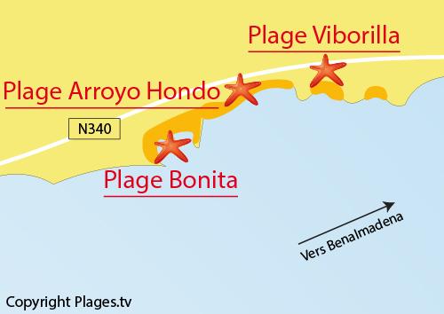 Carte de la plage de Bonita à Benalmadena - Espagne