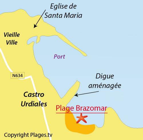 Carte de la plage de Brazomar à Castro Urdiales - Espagne