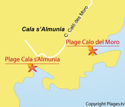 Carte de la plage de Cala s'Almunia à Majorque
