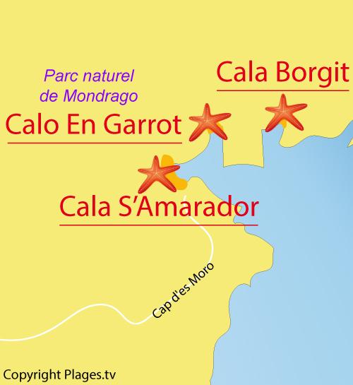 Carte de la plage dans la Cala S'Amarador à Majorque