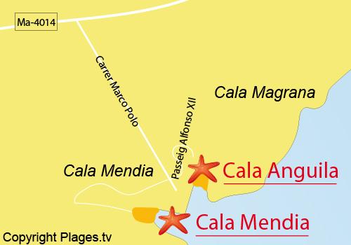 Carte de la plage de Cala Anguila à Majorque