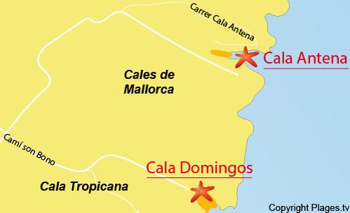 Carte de la plage de Cala Antena sur l'ile de Majorque