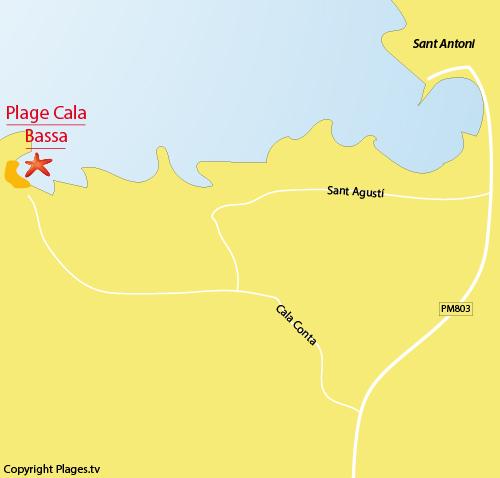 Carte de la plage de Cala Bassa à Ibiza