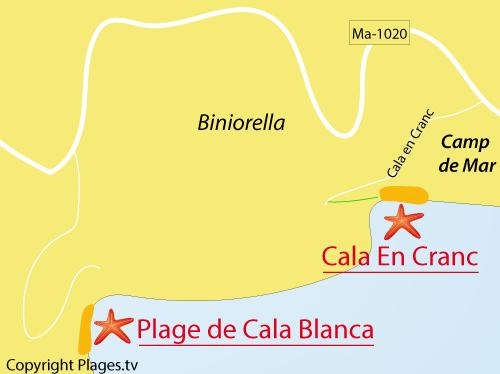 Carte de la plage Cala Blanca à Majorque