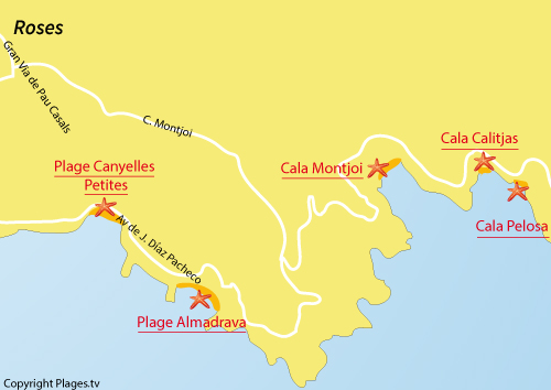 Map of Cala Calitjas in Roses