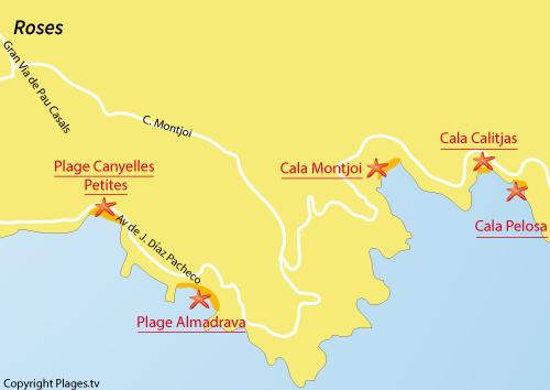 Carte de la plage de Cala Calitjas à Roses