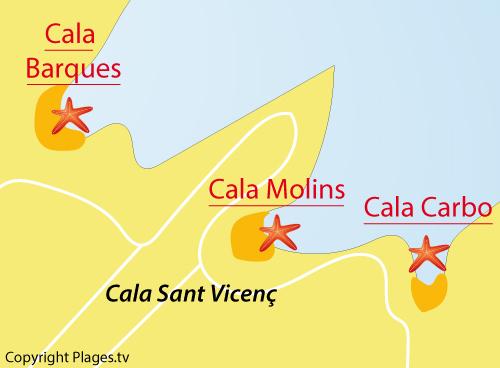 Carte de la Cala Carbo - Cala Sant Vicenc