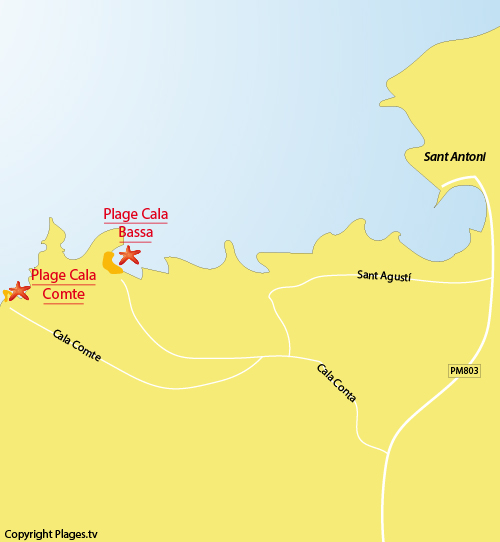 Carte de la plage de Cala Comte à Ibiza