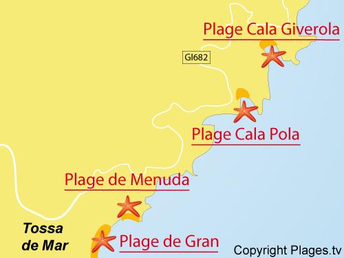 Carte de la plage de Cala Giverola à Tossa de Mar - Costa Brava
