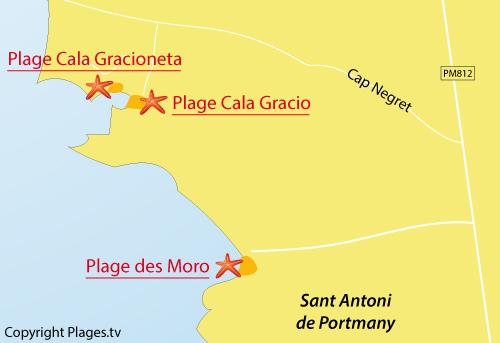 Carte de la plage de Cala Gracio à Sant Antoni - Ibiza