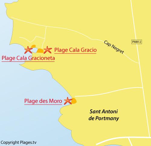 Carte de la Cala Gracioneta à Sant Antoni - Ibiza