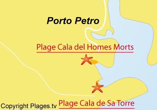 Carte de la plage de Cala dels Homes Morts à Porto Petro - Majorque