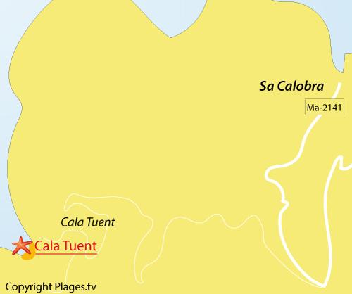 Carte de la plage de Cala Huent sur l'ile de Majorque
