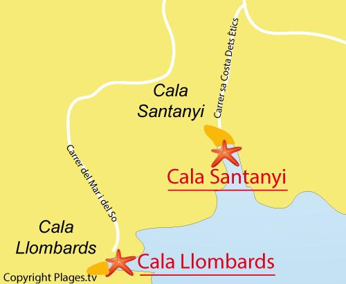 Carte de la plage de Cala Llombards à Majorque