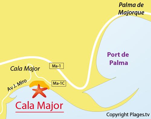 Carte de la plage de Cala Major à Palma de Majorque