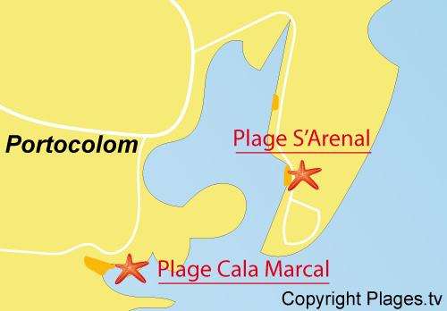 Carte de la Cala Marcal à Majorque - Porto Colom