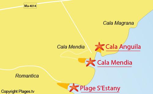 Carte de la plage de Cala Mendia - Porto Cristo