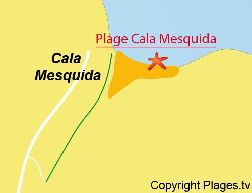 Carte de la plage de Cala Mesquida à Majorque