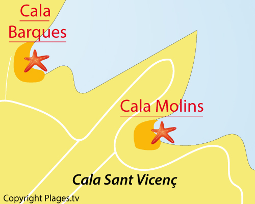 Carte de la plage de Cala Molins - Cala Sant Vicenc
