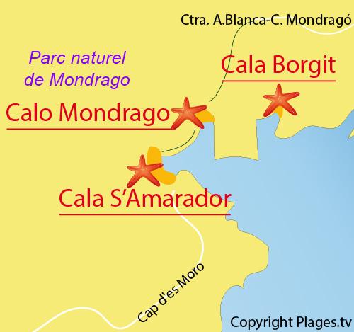 Carte de la plage de Cala Mondrago à Majorque