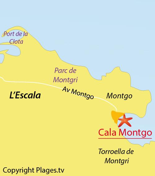 Carte de la plage de la Cala de Montgo à l'Escala - Espagne