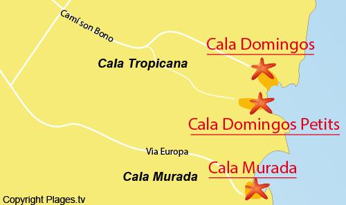 Carte de la plage de la Cala Murada - Majorque