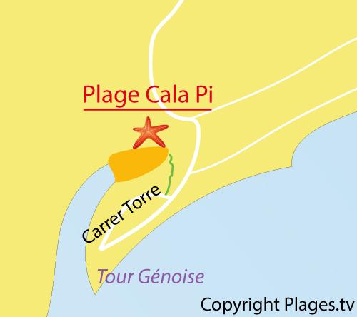 Carte de la plage de Cala Pi aux Baléares - Majorque