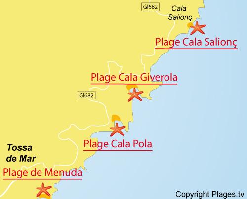 Carte de la plage de Cala Salionc à Tossa de Mar - Costa Brava