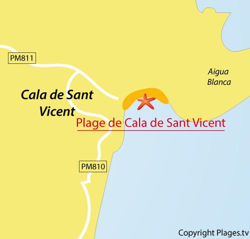 Carte de la plage de Cala Sant Vicent à Ibiza