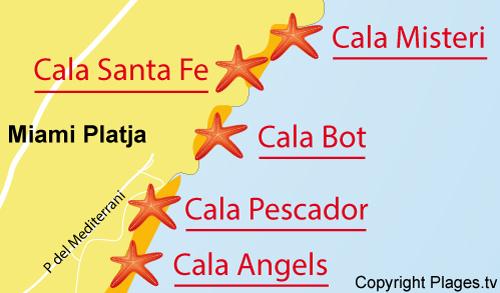 Carte de la plage de Santa Fe à Miami-Platja