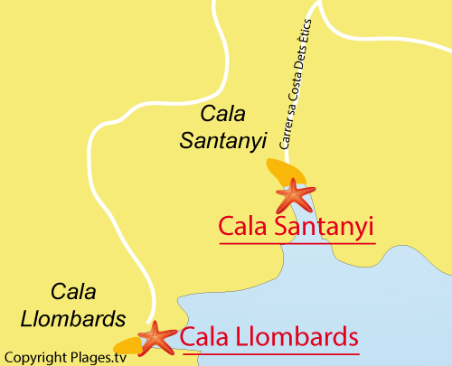 Carte de la plage de Cala de Santanyi à Majorque