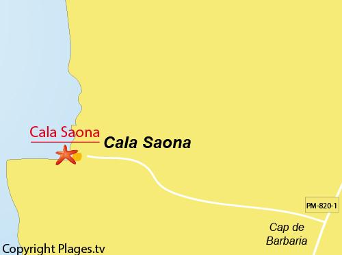 Carte de la plage de Cala Saona à Formentera