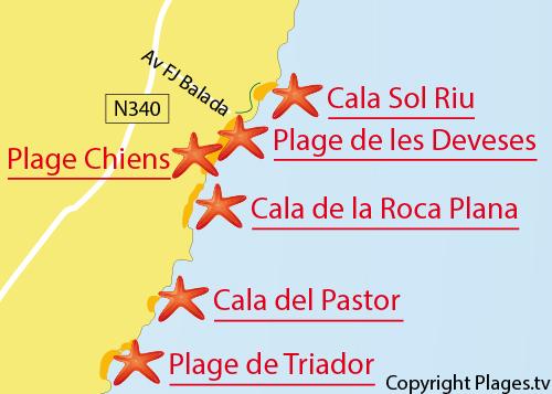 Carte de la plage dans la Cala de Sol de Riu à Vinaros en Espagne