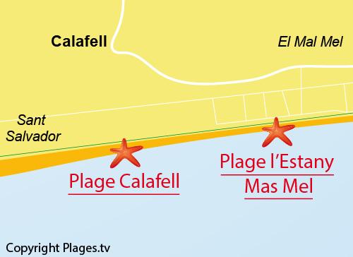 Carte de la plage de Calafell en Espagne