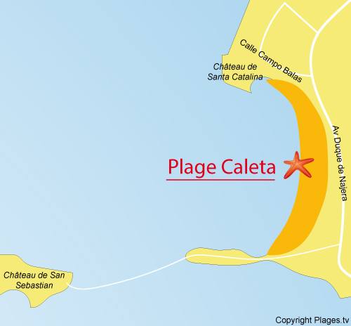 Carte de la plage de La Caleta à Cadix