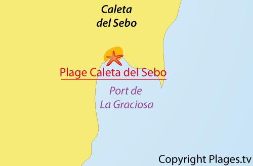 Map of Caleta de Sebo Beach in La Graciosa