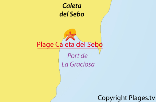 Carte de la plage de Caleta del Sebo à La Graciosa