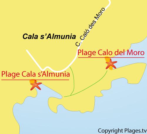 Carte de la plage de Calo del Moro - Majorque