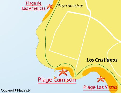 Carte de la plage de Camison à Los Cristianos