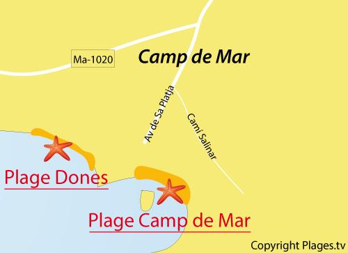 Carte de la plage Camp de Mar aux Baléares à Majorque