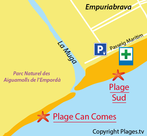 Carte de la plage de Can Comes à Empuriabrava