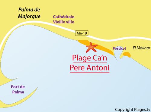 Map of Ca'n Pere Antoni Beach in Palma de Mallorca