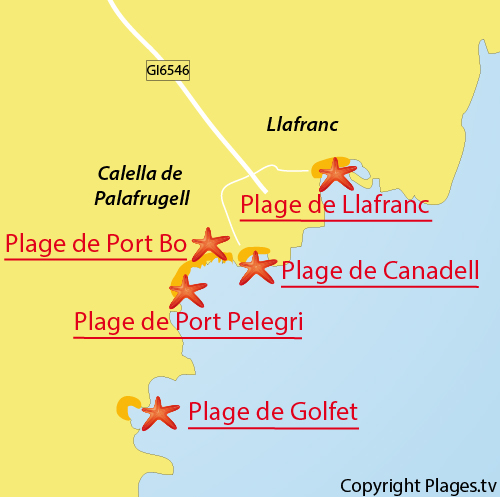 Carte de la plage de Canadell à Calella de Palafrugell - Espagne