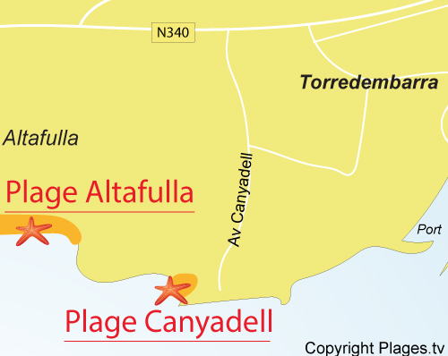 Carte de la plage de Canyadell - Torredembarra