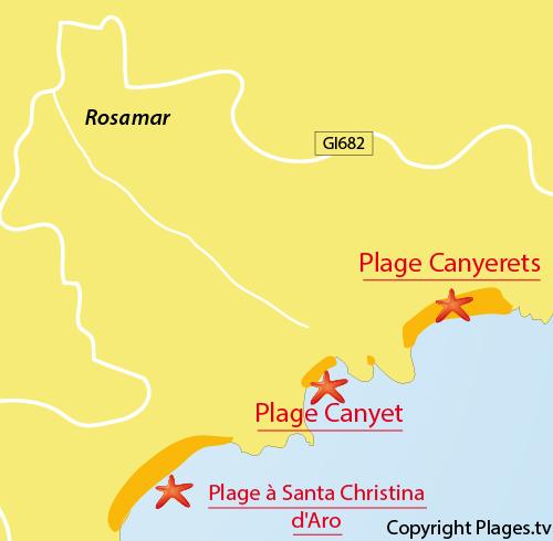 Carte de la plage de Canyerets à Sant Feliu de Guíxols