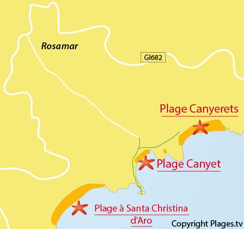 Carte de la plage de Canyet à Santa Cristina d'Aro - Espagne