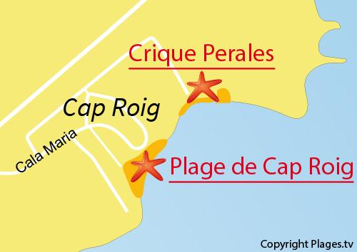 Carte de la plage du Cap Roig à l'Ampolla